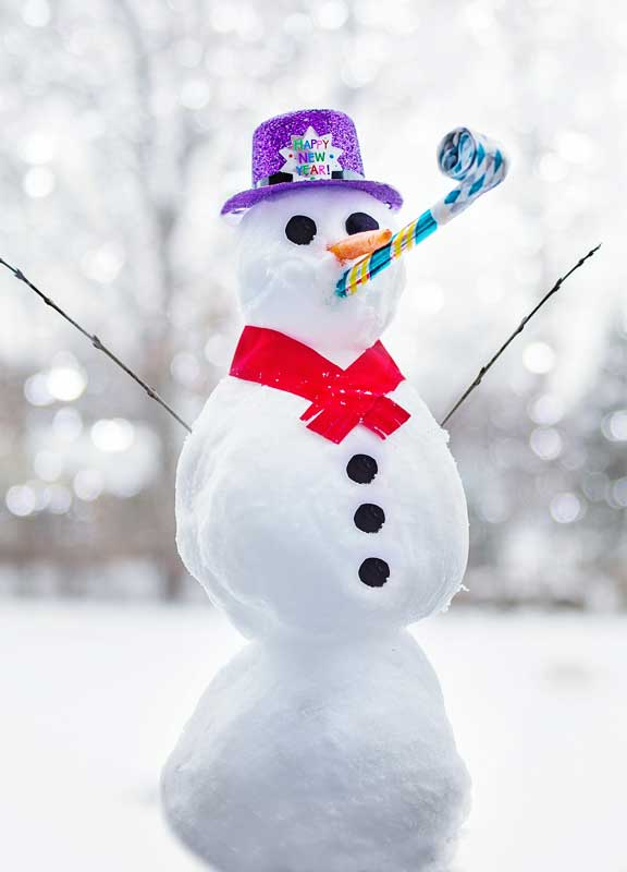 snowman with purple hat