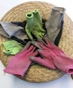 garden gloves pink gray green