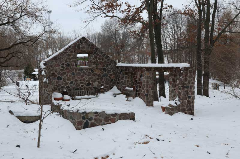 springhouse ruin with snow