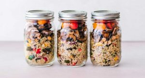 quinoa and veggies in mason jars