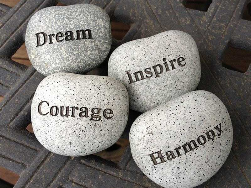 stones with mottos