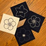 embroidered flower coasters