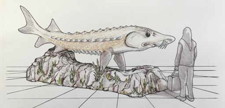 concept drawing of stanley the lake sturgeon sculpture
