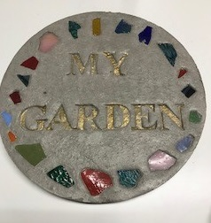my garden stepping stones with colored rocks