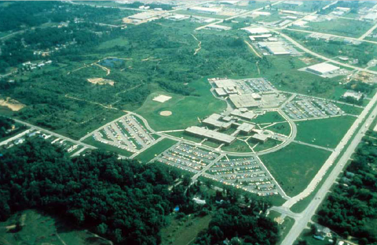 aerial photo of Northeast Wisconsin Technical College before garden was built